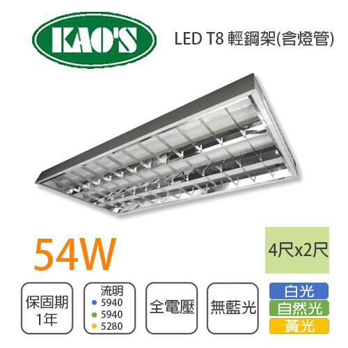 永光台製 展昊 led 輕鋼架 4尺x2尺 附管 t8 18wx3 全電壓 白光/黃光/自然光