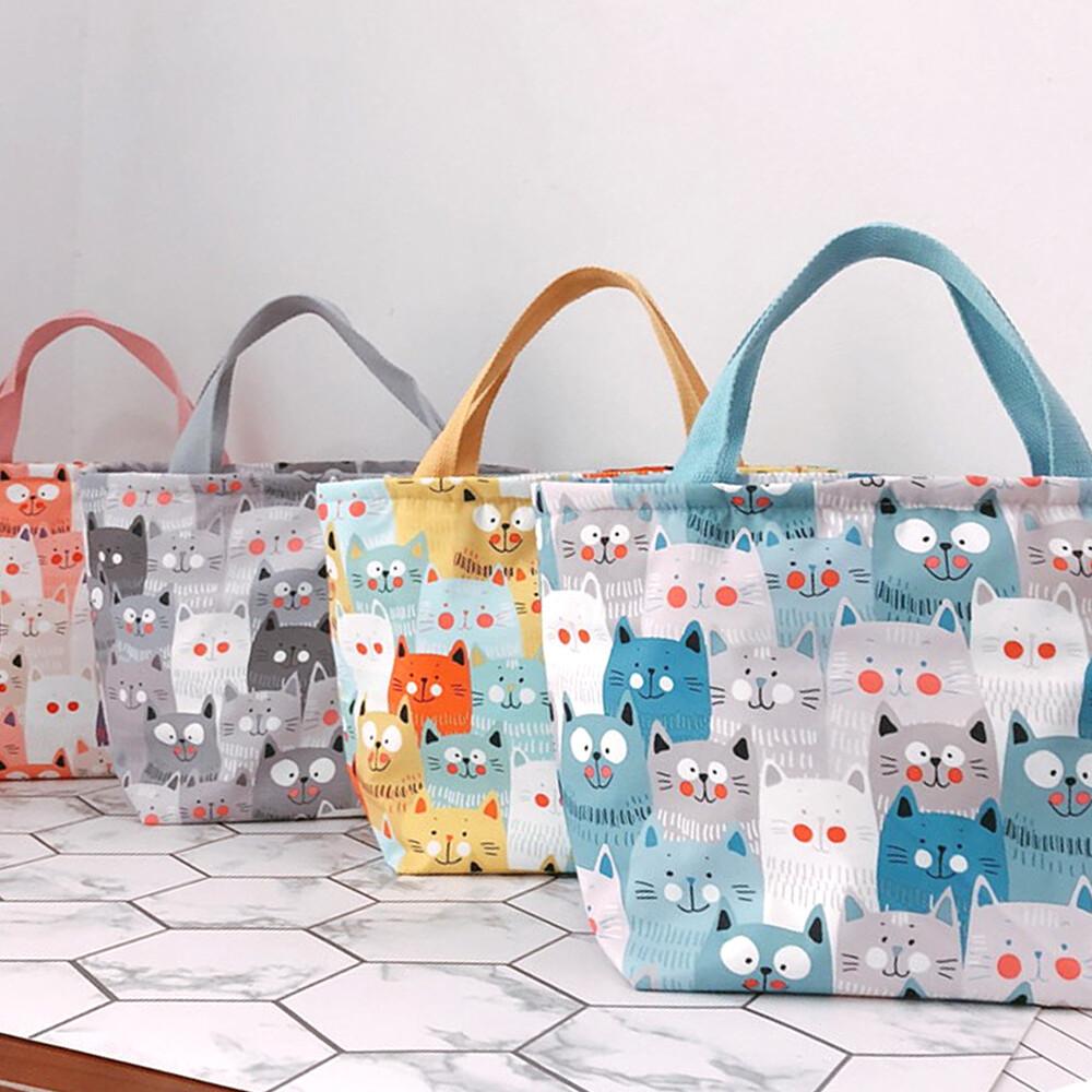 star baby日系滿版貓咪多用途 保溫 防水小手提包/便當袋/午餐提包(4色)