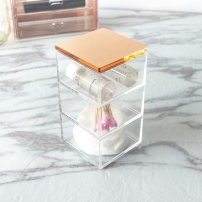 目喜生活|玫瑰金三層小物收納盒 (4.3折)