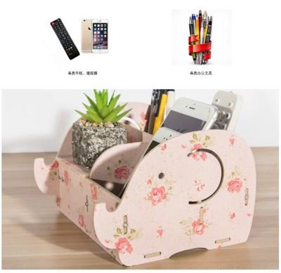 木製加厚收納筆筒 大象造型 手機平板支架 辦公 文具 筆筒 遙控器小物 (4.4折)