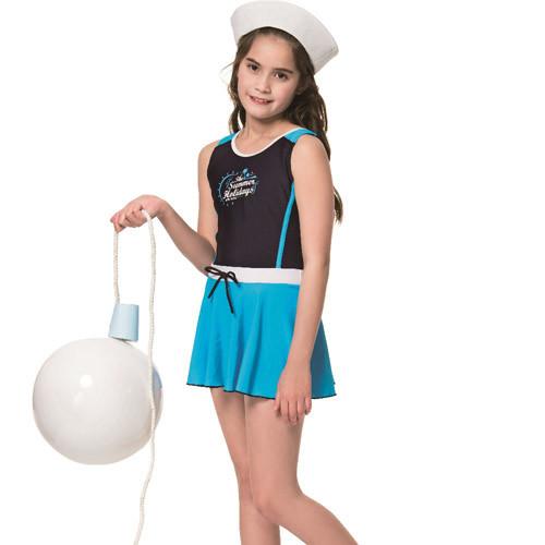 sarbis泡湯 spa中童連身裙泳裝附泳帽b78802-06