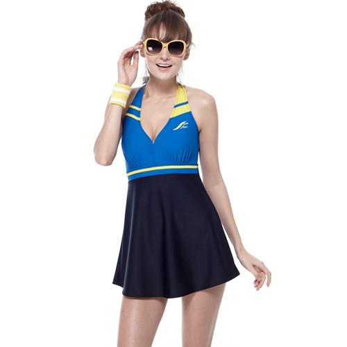 sain sou泡湯spa二件式連身裙泳裝附泳帽a92610