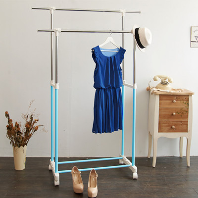 【H&R安室家】台製時尚雙桿延伸曬衣架/掛衣架-HG60B天空藍