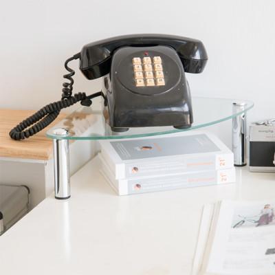 【H&R安室家】玻璃角落電話架/置物架-OA132 (5.7折)