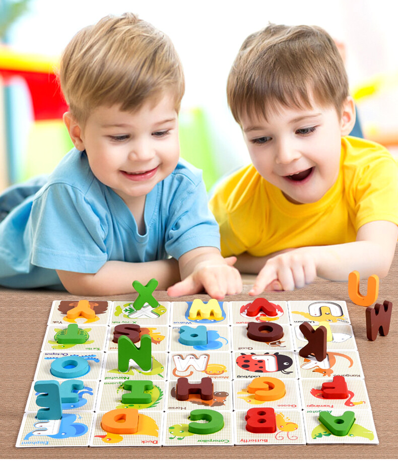 兒童英文字母配對拼圖 木制字母卡 配對英文學習卡 abc字母拼圖配對積木 英文字母立體配對圖卡