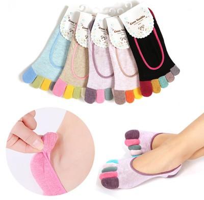 純棉短筒矽膠防滑隱形五指襪 (3.4折)