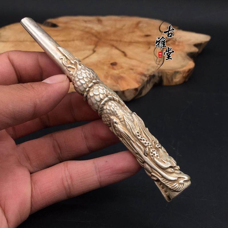 古玩雜項純銅煙桿純銅鎏銀盤龍煙嘴過濾銅煙嘴煙斗龍頭煙卷嘴子1入