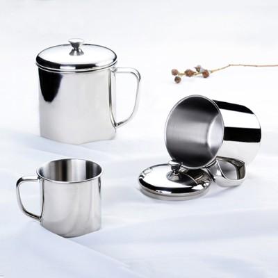 304不銹鋼杯子 幼兒園口杯辦公室水杯 小茶缸帶蓋 茶杯學生杯1入 (10折)