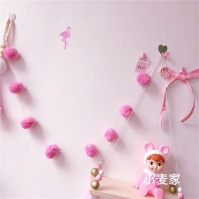 ins韓國bananafish少女心房間深粉色毛球蝴蝶結墻面掛飾裝飾串1入 (10折)