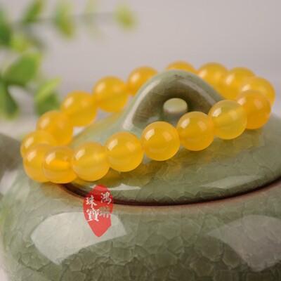 正品天然黃玉髓手鏈10mm 玉石原石裸石玉器女款 玉手串 項鏈掛鏈1入 (10折)
