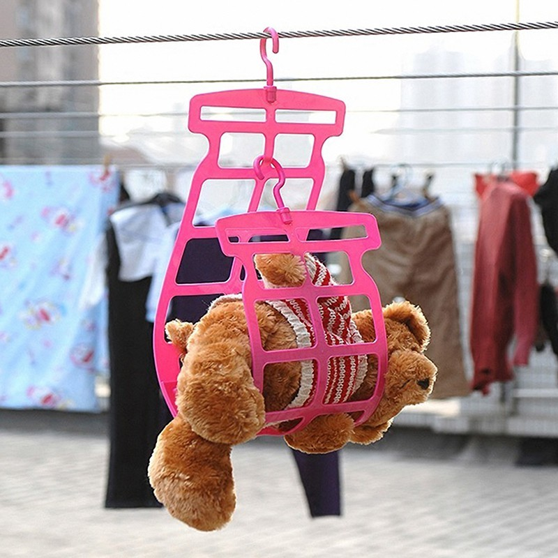 家用陽臺雙鉤抱枕晾曬夾子掛架創意小型玩具晾曬架曬枕架曬枕頭夾1入