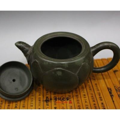 蔣蓉青蛙蓮子紫砂壺擺件 功夫茶壺收藏 回流壺全手工名家茶壺茶具1入 (10折)