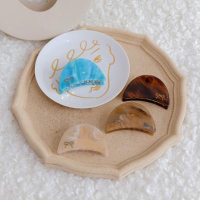 日本百年老鋪和風配飾半圓描金蝴蝶結醋酸板材抓夾發夾發飾1入 (10折)
