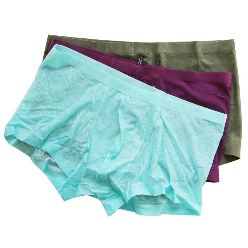3條裝一片式無痕輕薄透氣網紗男士內褲男全透明蕾絲平角褲四角褲1入