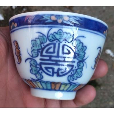 高仿古仿大清光緒年制斗彩福壽紋精品陶瓷茶杯精品古瓷器精品茶杯1入 (10折)