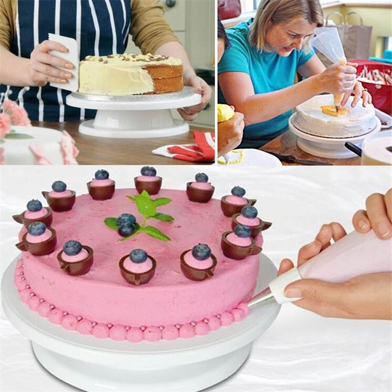 家用生日蛋糕轉盤底座環保塑料11寸轉盤蛋糕裱花臺圓形做蛋糕轉臺1入