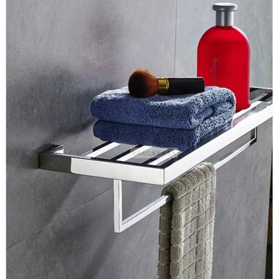 304不銹鋼衛生間浴室衛浴五金雙層置物架 2層浴巾架毛巾架 毛巾桿1入 (10折)
