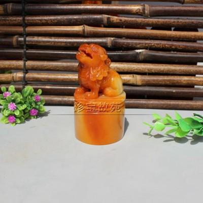精美壽山石原石客廳觀賞石擺件芙蓉石雕奇石玉石裝飾黃獅子印章1入 (10折)