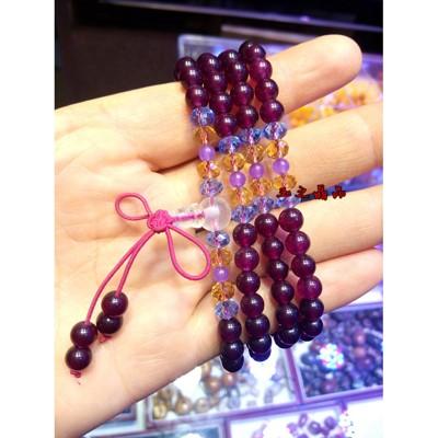 天然水晶紅玉髓紫黃晶隔珠手鏈   葡萄紫玉髓紫黃晶隔珠多圈手鏈 (10折)