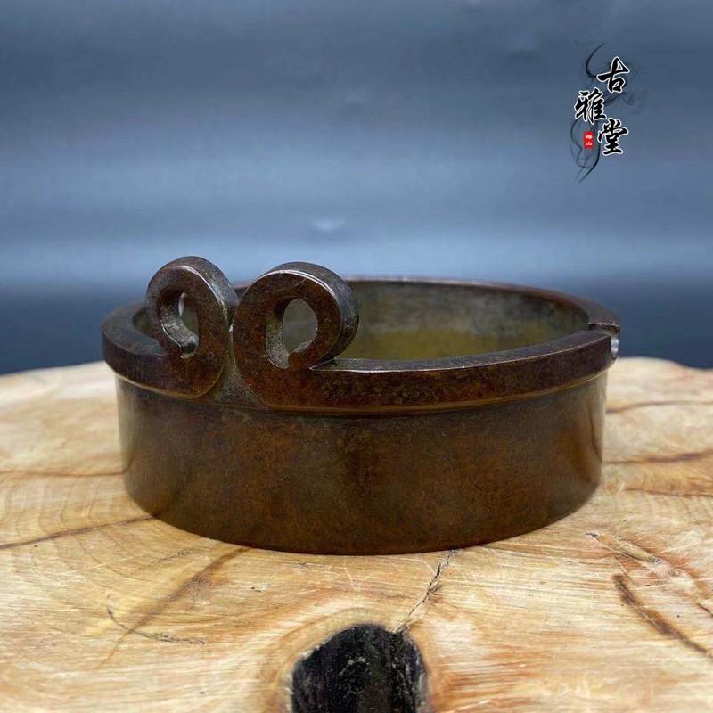 古玩復古煙灰缸熏香爐悟空緊箍咒創意煙灰缸純銅桌面擺件高端定制1入