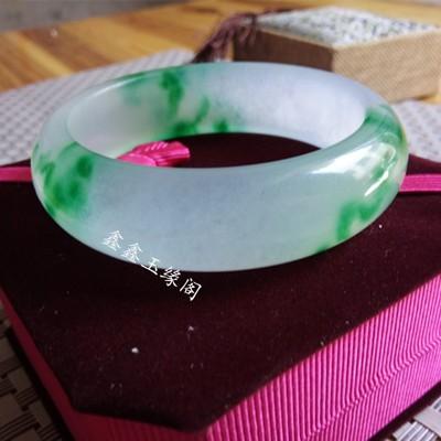 玉器手鐲天然翡翠色玉石鐲子女款冰種飄花淺綠石英巖玉玉鐲1入 (10折)