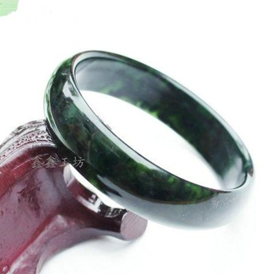 墨綠玉手鐲子保健玉器手環活磁墨綠玉玉鐲保健玉石手鐲玉器手鐲1入 (10折)