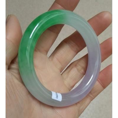 天然緬甸翡翠手鐲紫色淺綠色飄陽綠紫羅蘭玉手鐲玉石鐲子證書1入 (10折)