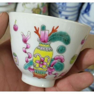 高仿古仿大清同治年制粉彩博古紋精品陶瓷茶杯精品古瓷器精品茶杯1入 (10折)