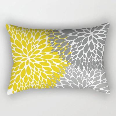 黃色雙面幾何沙發抱枕靠墊30*50長方形黃色幾何床頭腰枕網紅抱枕1入 (10折)