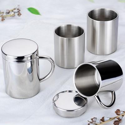 304加厚無磁不銹鋼杯子 雙層隔熱不銹鋼水杯 咖啡杯兒童口杯1入 (10折)
