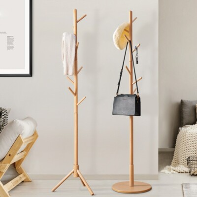 【U-mop】北歐實木衣架 衣帽架 掛衣架 臥室 收納衣架 簡約復古多功能掛衣架 立桿衣帽架 辦公室