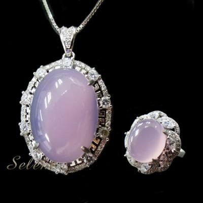 【Selene 珠寶】冰種紫玉髓套組 - 紫玉髓戒指 (10折)
