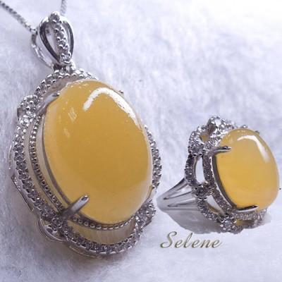 【Selene珠寶】華麗富貴金田黃項鍊套組(買項鍊 送戒指) (10折)