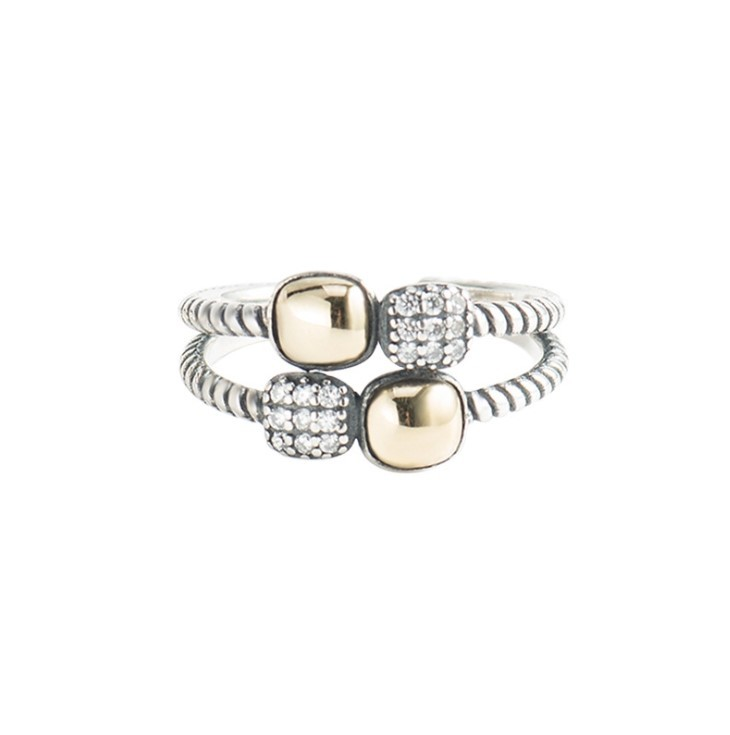 porstyle 珀風格 s925純銀戒指 韓系個性鑲鑽開口雙環戒指