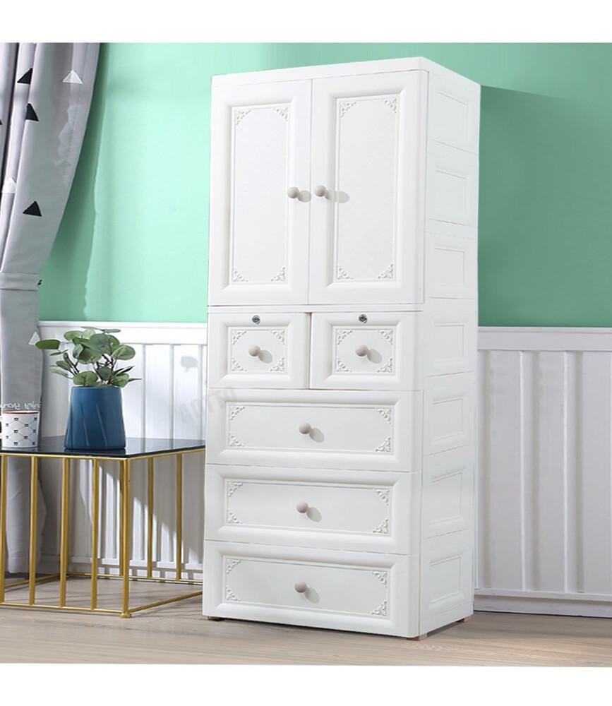 aotto北歐風浪漫典雅58面寬雙開門衣櫃衣櫥收納櫃(兒童衣櫃 多層收納)