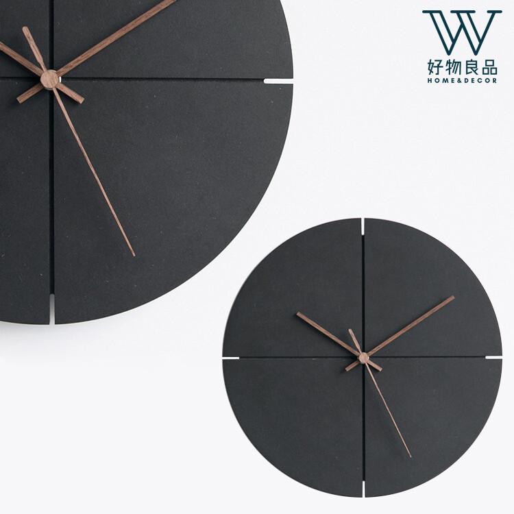 好物良品日式極簡設計個性時尚家用靜音掛鐘-黑色十字款(直徑29x9(厚)cm)f10