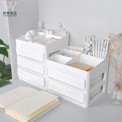 【好物良品】2層_多功能梳妝台抽屜式儲物整理分類盒 桌面收納盒 化妝台收納 辦公桌收納盒|D15-1