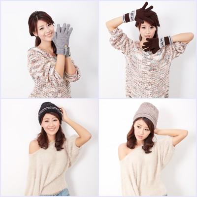 台灣製 抗寒發熱紗 針織毛線帽 針織手套 (3折)