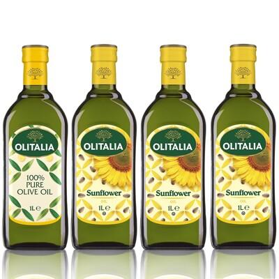 Olitalia奧利塔-經典油品A組(葵花油X3+橄欖油X1;1000ML/罐) (7折)