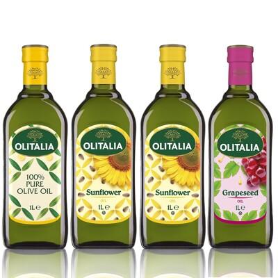 Olitalia奧利塔-烹飪調理油組(葵花油X2+橄欖油X1+葡萄油X1;1000ML/罐) (7.6折)