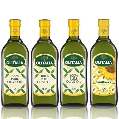 Olitalia奧利塔-健康調理油組(葵花油X1+橄欖油X3;1000ML/罐) (7.3折)