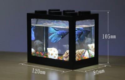 【(不帶燈) 積木魚缸】迷你水族箱 辦公室 水族箱 造景 水草 生長燈 LED 海綿寶寶 (4.8折)