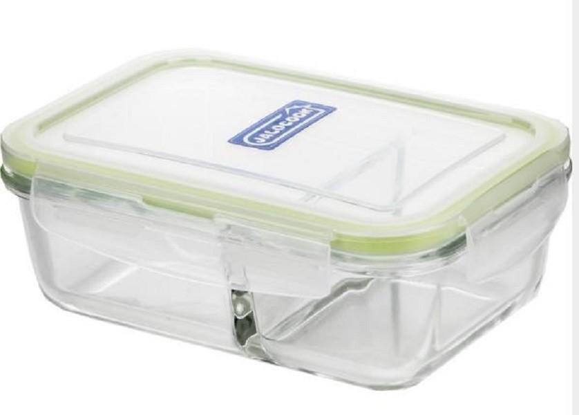 分隔玻璃便當盒兩分隔長方形620ms042耐熱玻璃保鮮盒 兩分隔 冷藏保鮮盒 玻璃 野餐 外食族