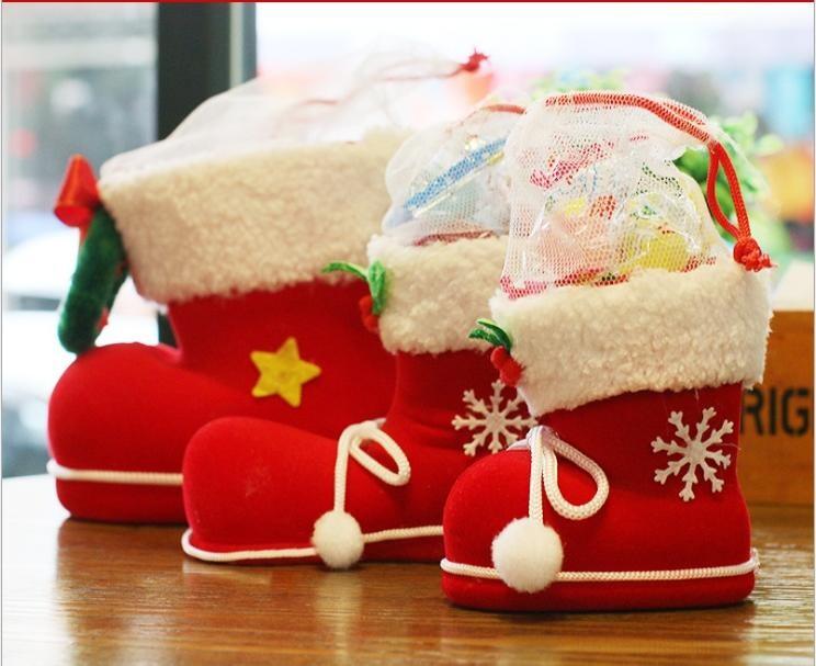 艾比讚中號聖誕靴聖誕靴造型 糖果禮物袋 聖誕節飾品 吊飾 糖果袋 禮物袋