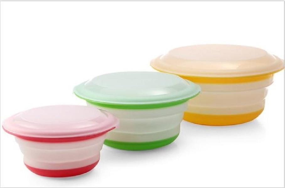 三件套便攜折疊餐具ch84 折疊碗三件套便攜折疊餐具 塑料伸縮碗旅遊餐碗 加蓋便攜摺疊碗