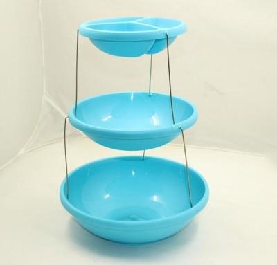三層摺疊碗【CH82 】多功能三層旋轉收納架新品旋轉折疊水果盤 三層點心盤子 蛋糕架托盤 收納盤 (5.9折)