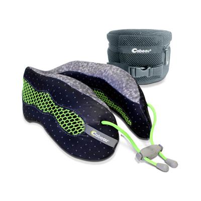 【Cabeau】酷涼記憶棉頸枕-黑+螢光綠 (10折)