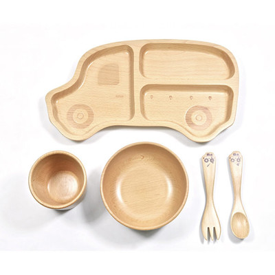 SADOMAIN 山毛櫸兒童餐具禮盒-叭叭車 (7.5折)