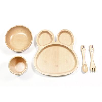 SADOMAIN 山毛櫸兒童餐具禮盒-兔兔 (7.5折)