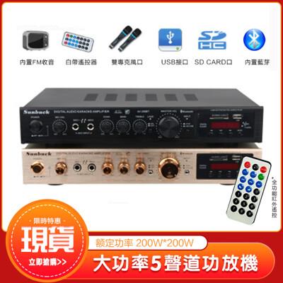 現貨110v擴大機 5聲道功放機 200w額定功率 真空管擴音機 小型卡拉ok藍芽音響 擴大器 (5.6折)